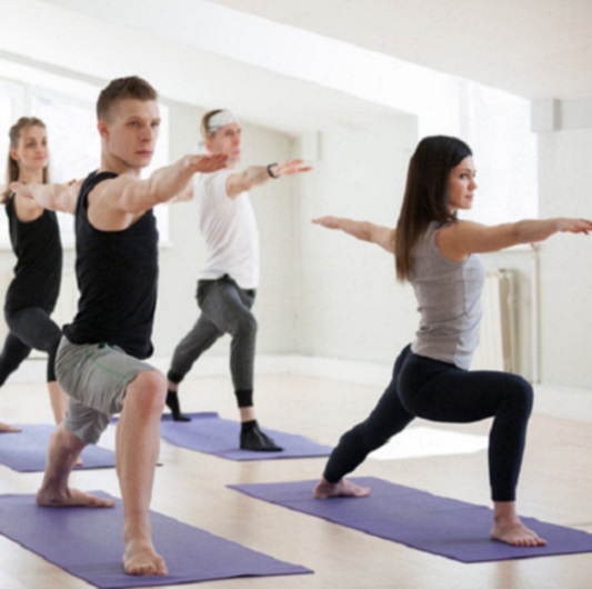 Yoga class with adults