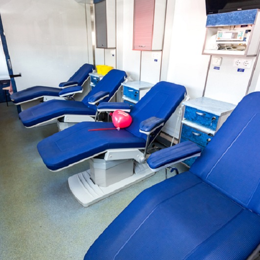Inside the mobile blood transfusion station vehicle, Ave Maria, Florida