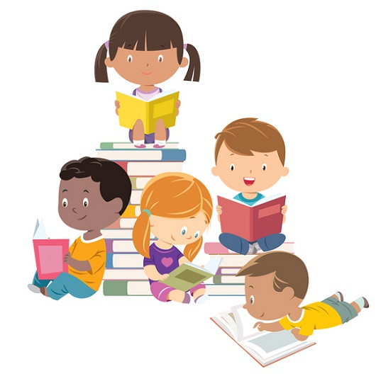 5 animated children reading in Ave Maria, Florida