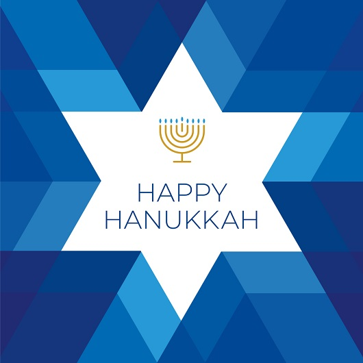 Happy Hannukkah card with star on blue background, Ave Maria Florida