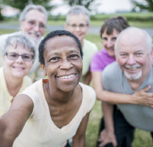 Del Webb Naples, group of adults taking a selfie, Ave Maria, Florida