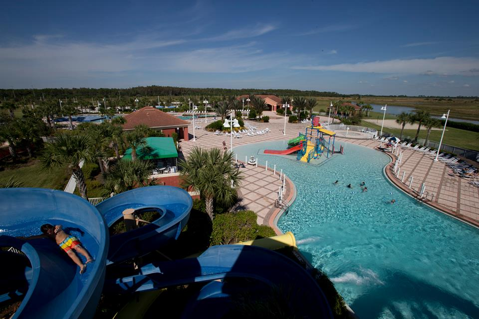 Ave Maria Water Park Aerial View of pool and slides
