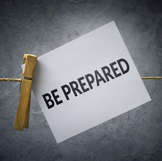 Be Prepared sign on clothespin