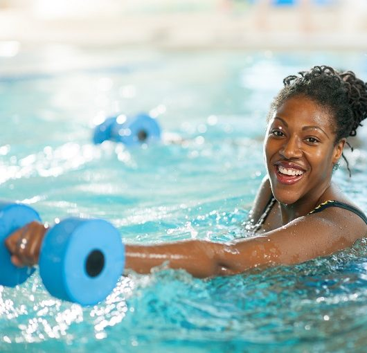 Water Aerobics, women smiling while exercising
