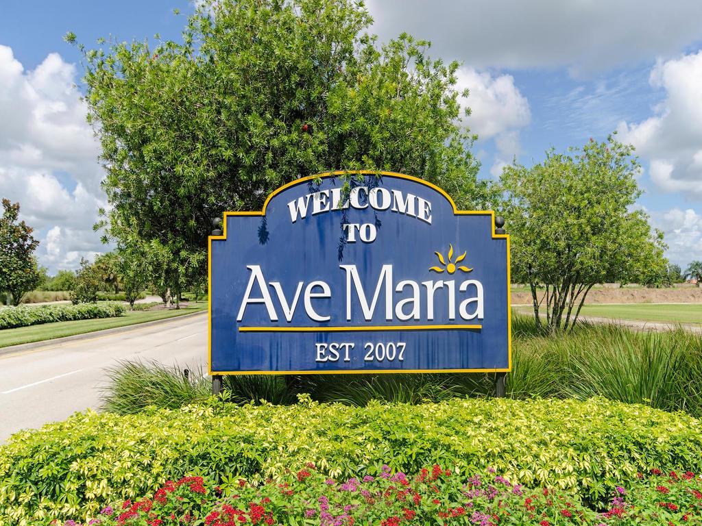 Ave Maria, Florida welcome/entrance sign