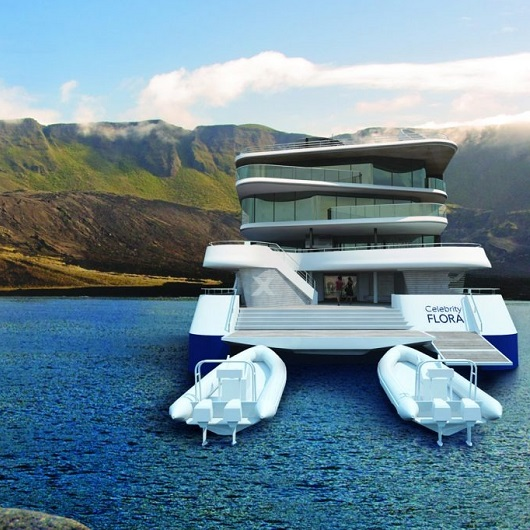 The Galapagos with small cruise ship on water