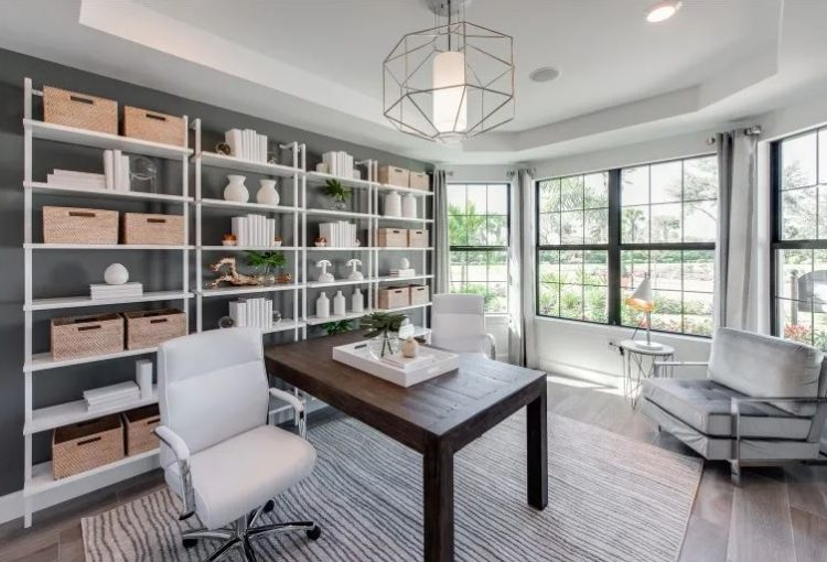 Home Office, with chair and organized wall Del Webb Naples