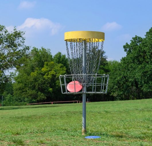 Disk Golf basket at park in Ave Maria, Florida