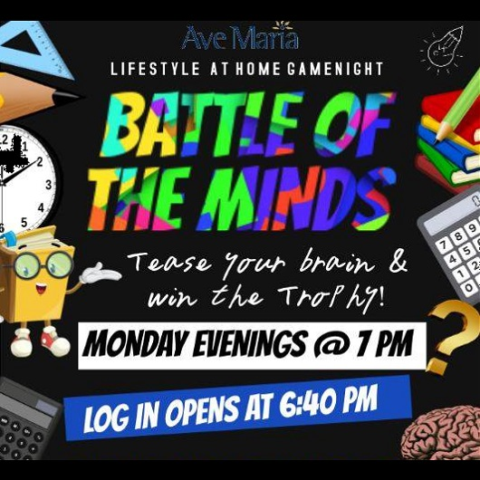 Virtual Game Night, Battle of the Minds Flyer, Ave Maria Florida
