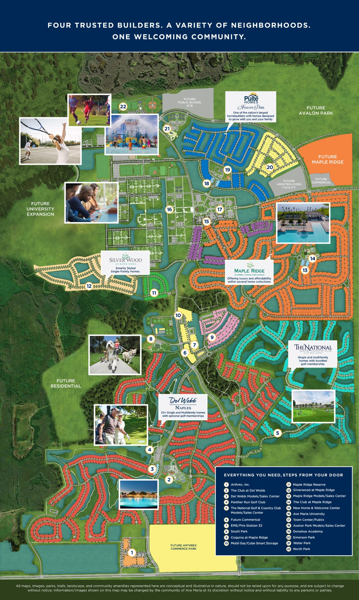 Colorful map of Ave Maria, Florida