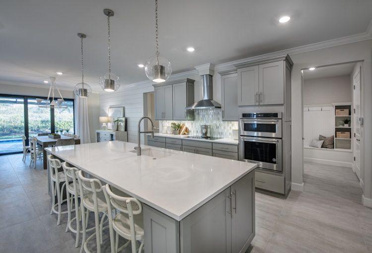 Reverence model home kitchen in Del Webb Naples