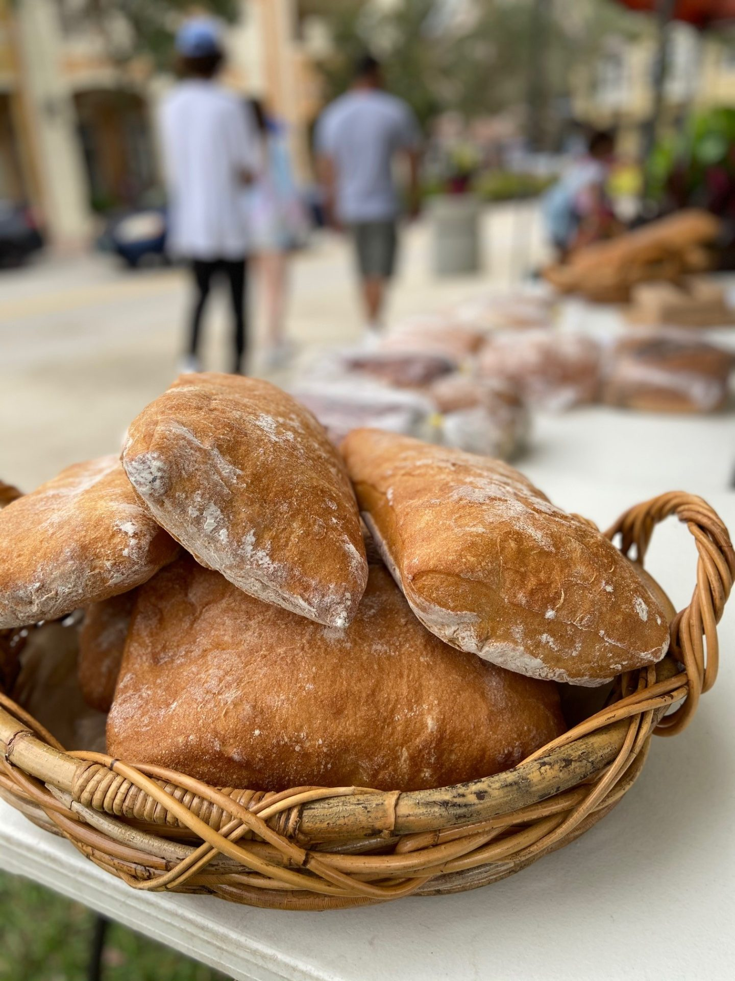 Loaves of bread on display