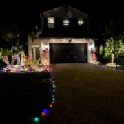 Home decorated with many Christmas lights