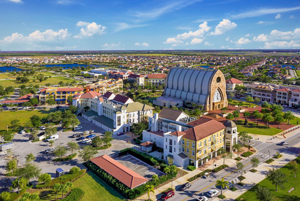 Ave Maria, Florida aerial view of town