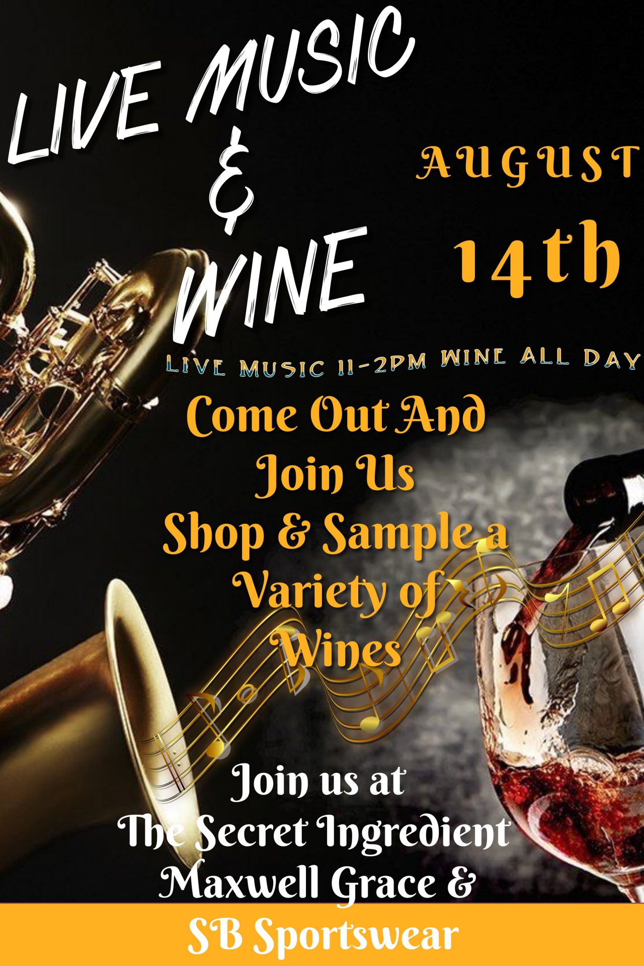 Live Music and Wine Event Flyer Ave Maria, Florida